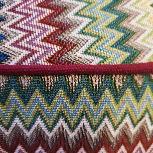 Round Multicolor ZigZag with Dark Red Pipings (Medium 100 x 15)