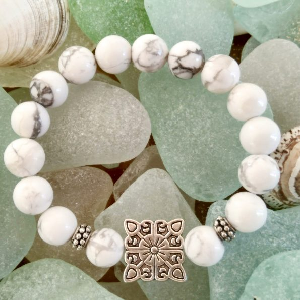 Charity Stone Bracelet – White Howlite (Square)
