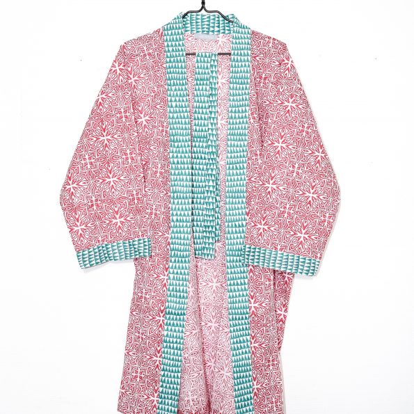 Blocked Printed Kimono Bathrobe / Red & Green
