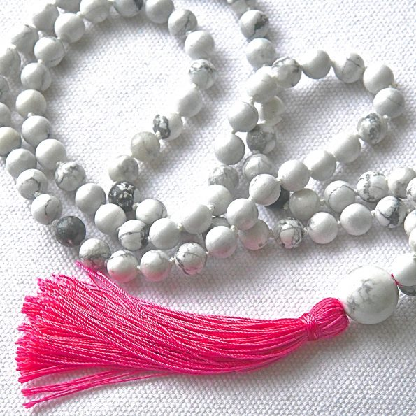 Charity Necklace – White Howlite and Knots & Pink Tassel
