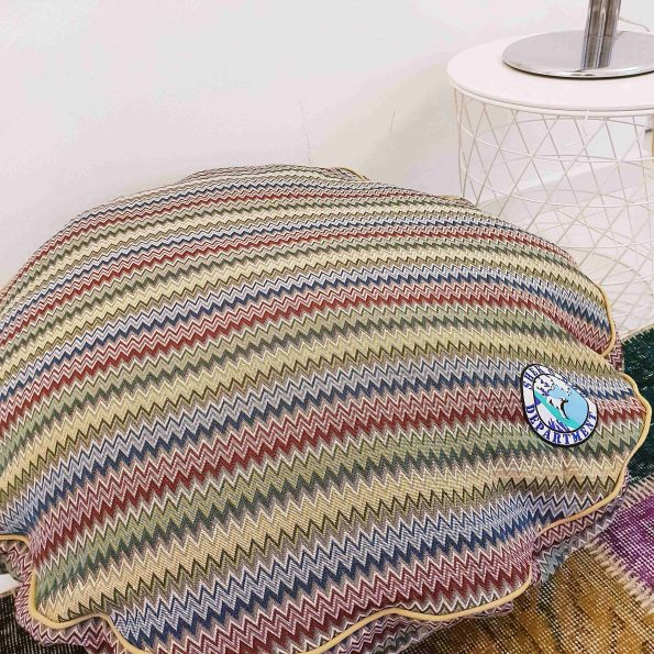 Round Multicolor ZigZag with Yellow Pipings (Small 80 x 15)