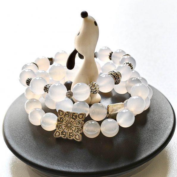 NEW! Charity Stone Bracelet –  White Chalcedony