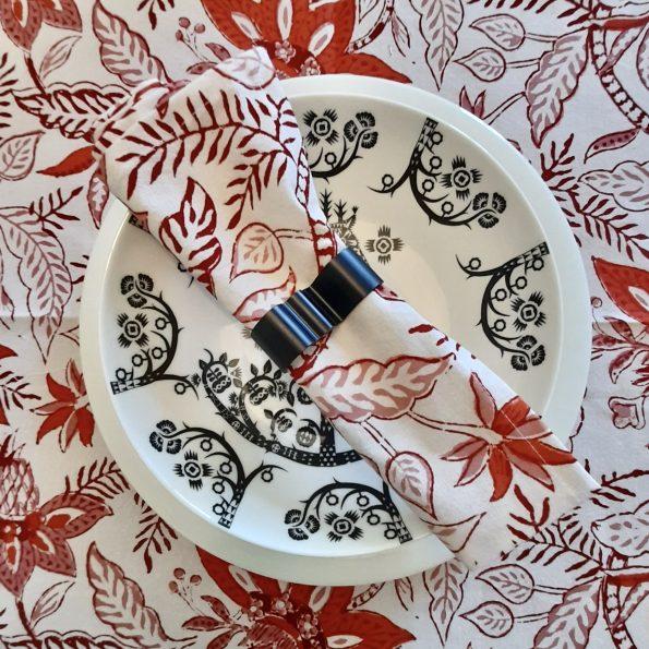 Block Printed Cotton Napkins / Set of 4 / Devilish Red